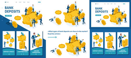 Set Template article, Landing page, app design, Isometric The concept of investing in a bank deposit, small people carry money.