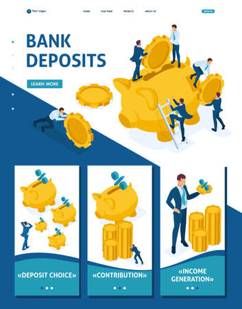 Isometric Website Template Landing page The concept of investing in a bank deposit, small people carry money. Adaptive 3D. Ilustração