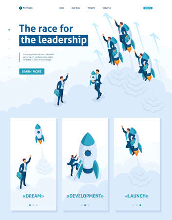 Isometric Website Template Landing page race for leadership, competition of young successful businessman. Adaptive 3D. Illustration