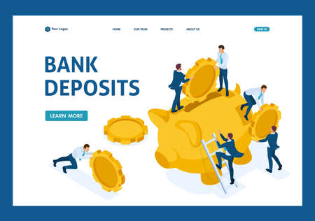 Isometric The concept of investing in a bank deposit, small people carry money. Website Template Landing page.