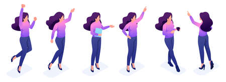 Isometric set of movements and poses of a young woman bright sweater, colorful hair and dark pants. Vettoriali