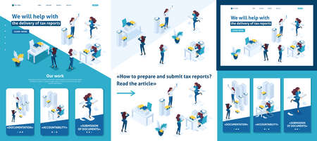 Set Template article, Landing page, app design, Isometric The head of the audit company swears at subordinates, the delivery of the tax report.