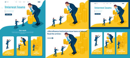 Set Template article, Landing page, app design, Isometric Big businessman lends money to small businessmen.