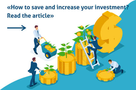 Isometric Bright Template banner article save and increase investment, capital, income growth.