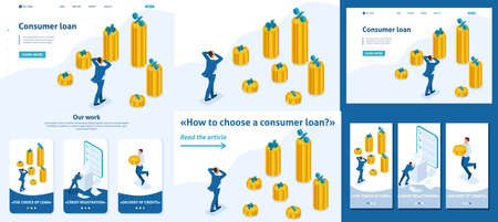 Set Template article, Landing page, app design, Isometric The man grabbed his head and looks at the amount of loans and their rates.