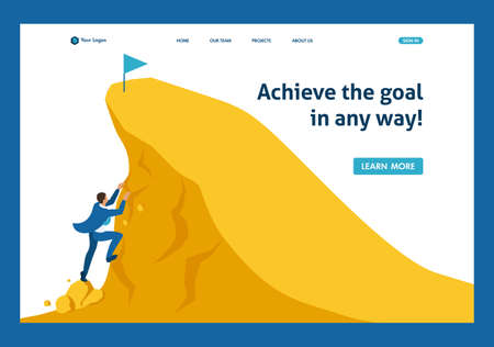 Isometric Build a career, businessman climbs the big Golden mountain, succeed. Website Template Landing page.