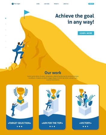 Page de destination du modèle de site Web isométrique Construisez une carrière, l'homme d'affaires gravit la grande montagne d'or, réussissez. 3D adaptative. Vecteurs