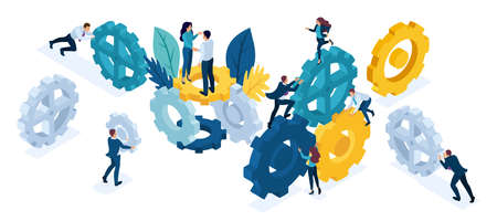 Isometric People Set, business team working cohesively. Interaction and unity.