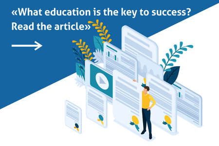 Isometric Bright Template banner article education and coaching is the key to success. Diplomas and knowledge.