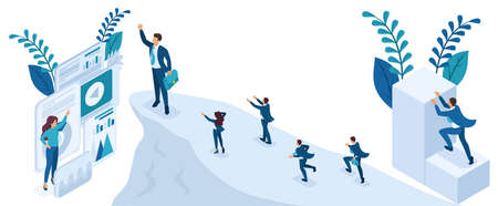 Isometric People Set, Big businessman at the top symbolizes leadership and success, people follow him.