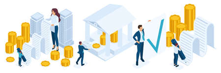 Isometrischer Personensatz, Registrierung und Ausgabe von Geld, das durch Immobilien, Hypothekendarlehen gesichert ist. Vektorgrafik