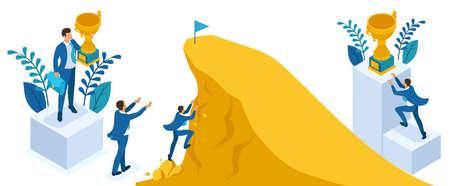 Isometric People Set, Build a career, businessman climbs the big Golden mountain, succeed. Ilustração