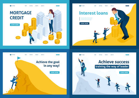 Set Template design, Isometric concept mortgage loan, Interest loans, achieving goal, climbing to the top. Иллюстрация