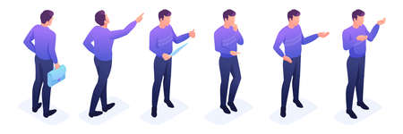 Isometric set of movements and poses of a young man, a bright sweater, dark pants. Vector illustration set.