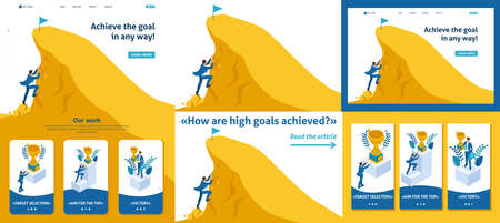 Set Template article, Landing page, app design, Isometric Build a career, businessman climbs the big Golden mountain, succeed.