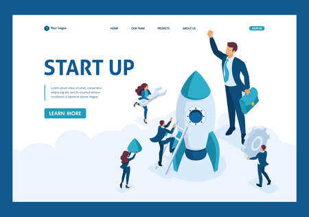 Isometric The concept development and startup business. Businessmen create a rocket. Website Template Landing page.