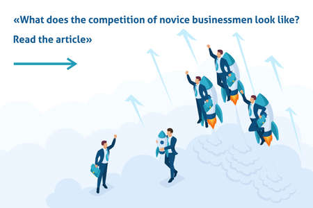 Isometric Bright Template banner article race for leadership, competition of young successful businessman.