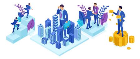 Ensemble de personnes isométriques, un grand homme d'affaires regarde la ville, le pouvoir du concept.