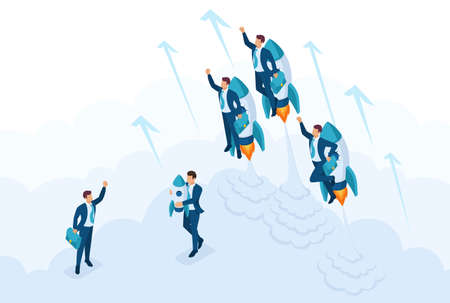 Isometric the concept race for leadership, competition of young successful businessman. Concept for web design.