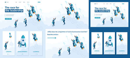 Set Template article, Landing page, app design, Isometric race for leadership, competition of young successful businessman.