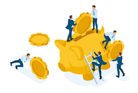 Isometric The concept of investing in a bank deposit, small people carry money. Concept for web design.