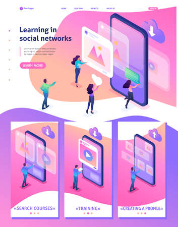Isometric Website Template Landing page bright concept learning the correct profile design in social networks. Adaptive 3D.
