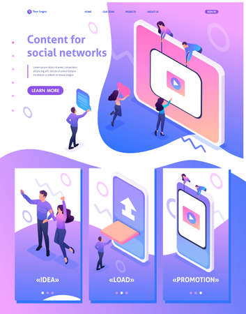 Isometric Website Template Landing page Content creation for social networks, video development and promotion. Adaptive 3D.