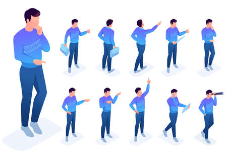 Isometric set 4 of poses and gestures of the character. To create vector illustrations, isolated background. 일러스트