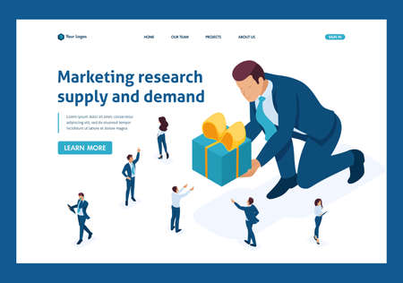 Isometric concept product marketing research using focus groups. Website Template Landing page. Stock Vector - 124809704