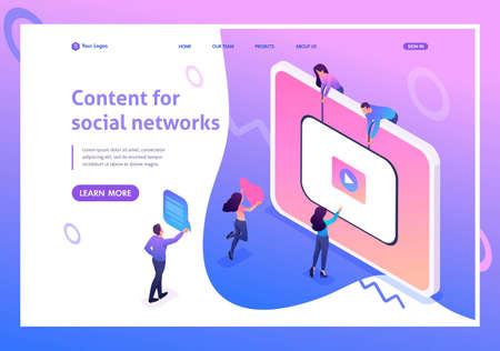 Isometric concept Content creation for social networks, video development and promotion. Website Template Landing page. Vektoros illusztráció