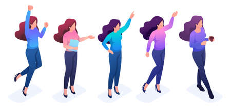 Set of young girls with gestures and emotions to create vector illustrations.