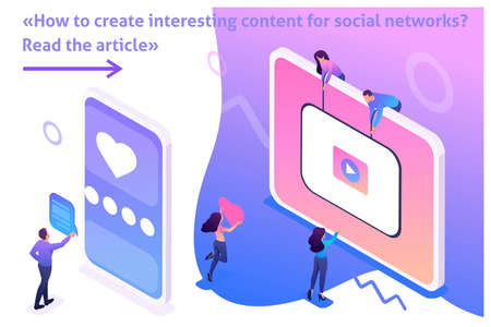 Isometric Bright Template banner article Content creation for social networks, video development and promotion.