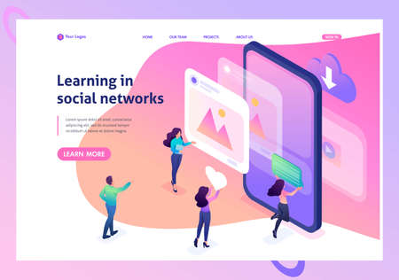Isometric bright concept learning the correct profile design in social networks. Website Template Landing page. Çizim