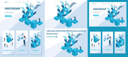 Set Template article, Landing page, app design, Isometric mentorship and its impact on business success. Illustration