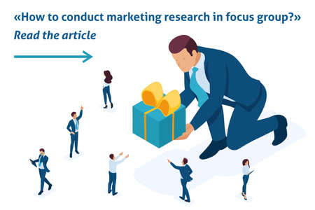 Isometric Template banner article concept product marketing research using focus groups.
