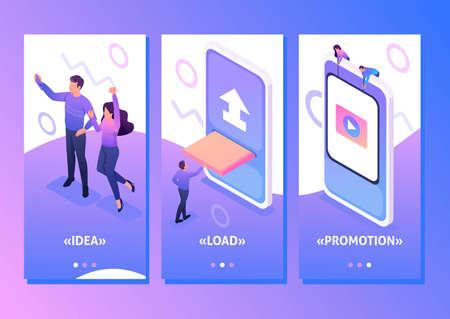 Isometric Template app Content creation for social networks, video development and promotion, smartphone apps. Vektoros illusztráció