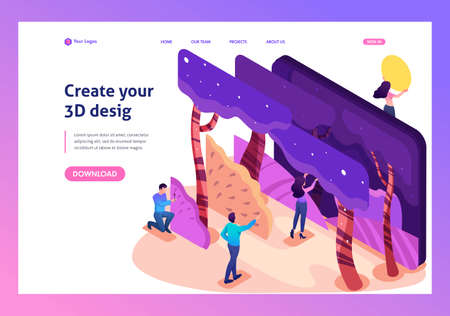 Isometric bright concept of a modern program for creating 3D illustrations. Website Template Landing page. Ilustrace