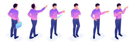 Isometric set of movements and poses of a young character. Set to create vector illustrations.