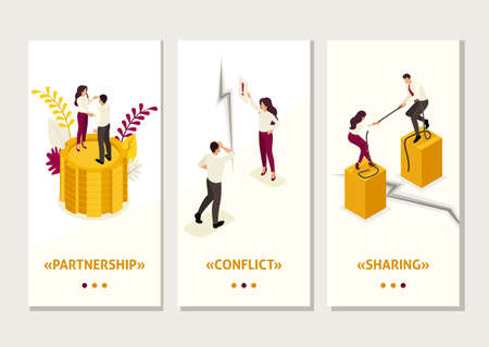 Isometric Template app concept conflict of partners and disagreements in business, smartphone apps.