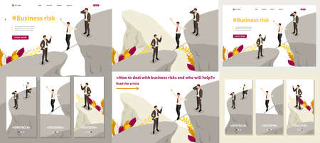 Set Template article, Landing page, app design, Isometric fear and overcoming risks in business Stock Illustratie