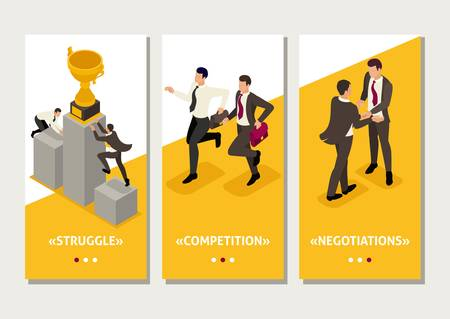 Isometric Template app concept businessmen compete for the championship, leadership, smartphone apps