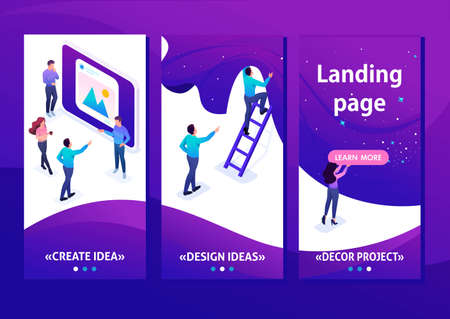 Isometric Template app concept development and creation of a website, little men, smartphone apps.