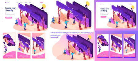 Set Template article, Landing page, app design, Isometric bright concept of a modern program for creating 3D illustrations Ilustrace