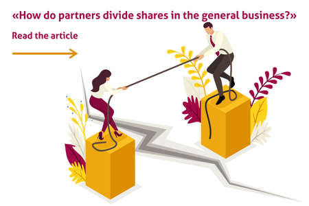 Isometric Template banner article conflict of partners and disagreements in business