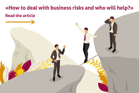 Isometric Template banner article fear and overcoming risks in business Stock Illustratie