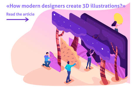 Isometric Template banner article bright concept of a modern program for creating 3D illustrations.