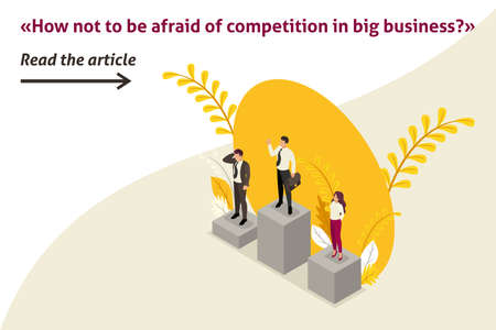 Isometric Template banner article businessmen compete for the championship, leadership. Banque d'images - 124416001