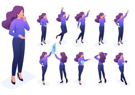 Isometric set 5 of poses and gestures of the character, woman. To create vector illustrations, isolated background.