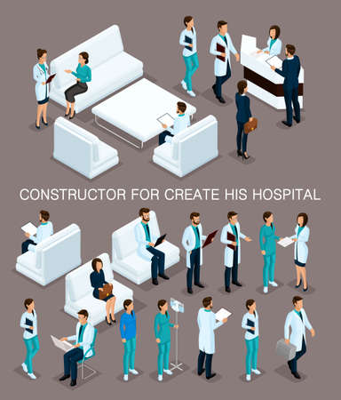 Business people isometric set to create his illustrations, hospitals, doctors, patients, reception, Nurse 3D medical staff isolated on a dark background.  イラスト・ベクター素材