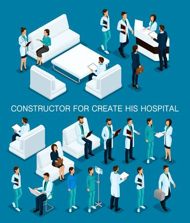 Business people isometric set to create his illustrations, hospitals, doctors, patients, reception, Nurse 3D medical staff isolated on a dark blue background.